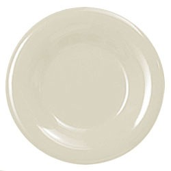 Thunder Group CR012V Ivory Melamine Wide Rim Round Plate 12""