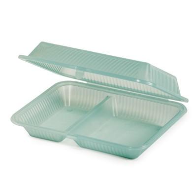 "G.E.T. Enterprises EC-15-1-JA Jade Eco-Takeouts 10"" x 8"" 2-Compartment Food Container"