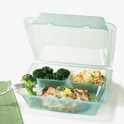"G.E.T. Enterprises EC-01-1-JA Eco-Takeouts 3-Compartment Jade Food Container 9"" x 9"""