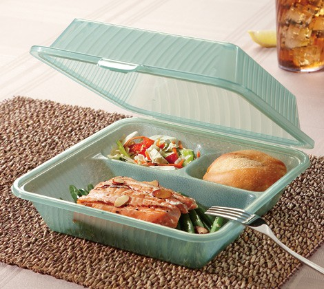 "G.E.T. Enterprises EC-09-1-JA Jade Eco-Takeouts 9"" x 9"" 3-Compartment Food Container"