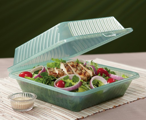 "G.E.T. Enterprises EC-10-1-JA Jade Eco-Takeouts 9"" x 9"" Single Entree Food Container"