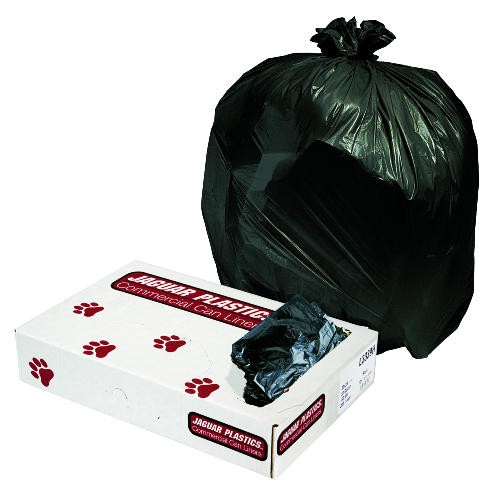 Jaguar Plastics Industrial Strength Commercial Garbage Can Liners, 10 gal, .35mil, Black (Box of 500)