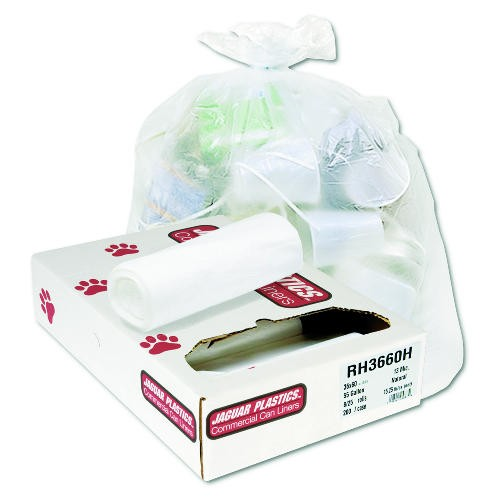 Jaguar Plastics Regular Garbage Can Liner, 10 Gal, 6 Mic, 24 X 24, Natural Color (Box of 1000)