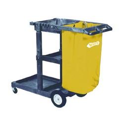 Janitorial Cart, 3 Shelves, 20 1/2w x 48d x 38h, Blue