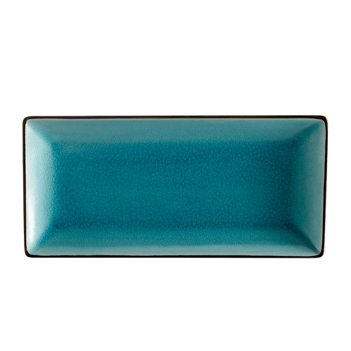 "CAC China 666-13-BLU Japanese Style 11.5"" x 6.5"" Rectangular Plate, Lake Water Blue"