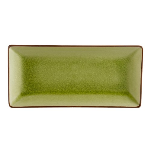 """CAC China 666-13-G Japanese Style Rectangular Plate, Golden Green 11.5"""" x 6.5"""""""