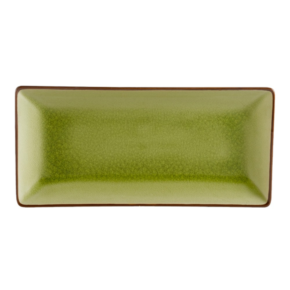 "CAC China 666-13-G Japanese Style Rectangular Plate, Golden Green 11.5"" x 6.5"""