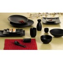"CAC China 666-21-BK Japanese Style 12"" Coupe Plate, Black Non-Glare Glaze"