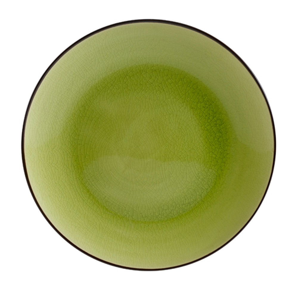 "CAC China 666-21-G Japanese Style 12"" Coupe Plate, Golden Green"