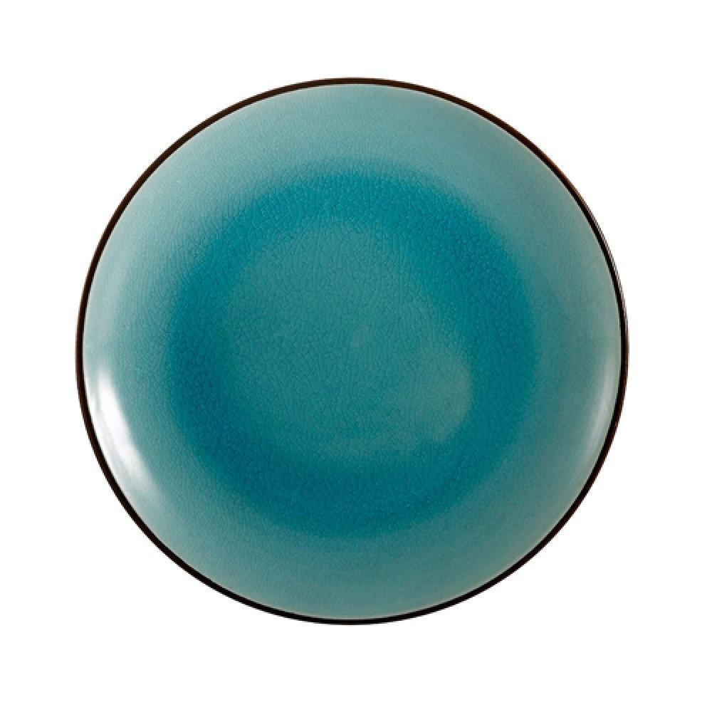 "CAC China 666-21-BLU Japanese Style 12"" Coupe Plate, Lake Water Blue"