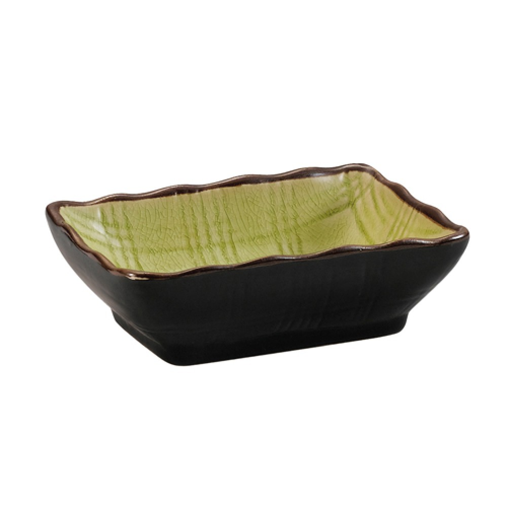 "CAC China 666-32-G Japanese Style 3-1/4"" x 2-1/2"" Sauce Dish, Golden Green"