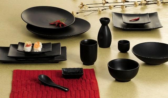 """CAC China 666-5-BK Japanese Style 5"""" Square Plate, Black Non-Glare Glaze"""