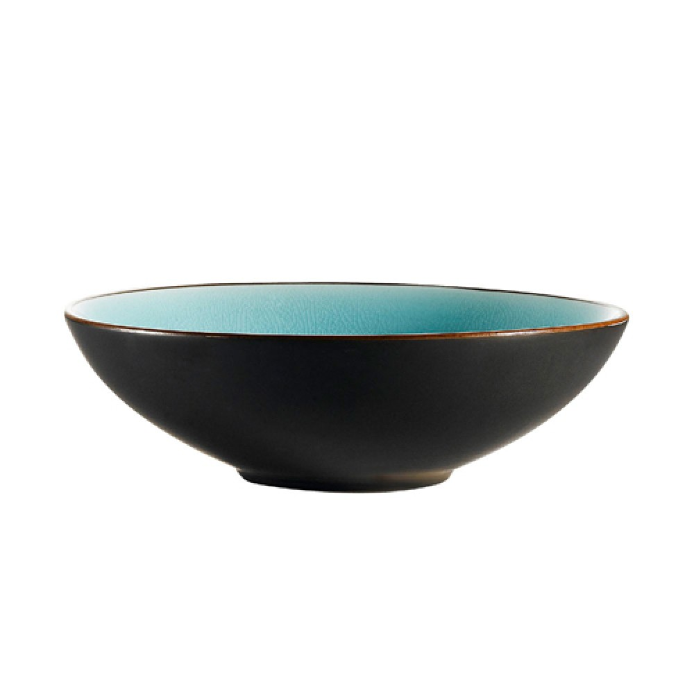 "CAC China 666-15-BLU Japanese Style 7"" Soup Bowl, Lake Water Blue"
