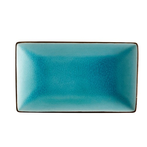 "CAC China 666-34-BLU Japanese Style 8-1/2"" x 5-1/2"" Rectangular Plate, Lake Water Blue"
