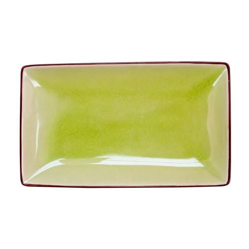 "CAC China 666-34-G Japanese Style 8-1/2"" x 5-1/2"" Rectangular Plate, Golden Green"