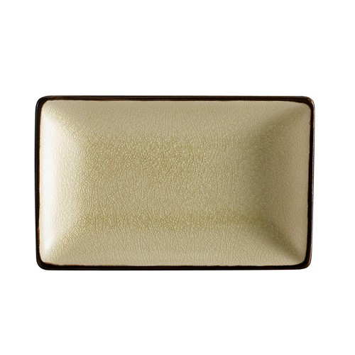 "CAC China 666-34-W Japanese Style 8-1/2"" x 5-1/2"" Rectangular Plate, Creamy White"
