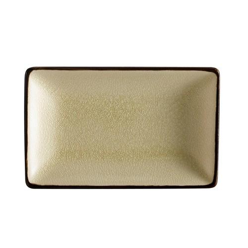 "CAC China 666-34-W Japanese Style 8-1/2"" x 5-1/2"" Rectangular Plate, Creamy White"