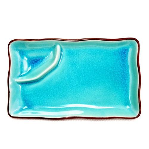 "CAC China 666-77-BLU Japanese Style 8"" x 4"" Rectangular Plate, Lake Water Blue"