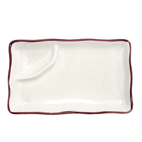 "CAC China 666-77-W Japanese Style 8' x 4"" Plate, Creamy White"