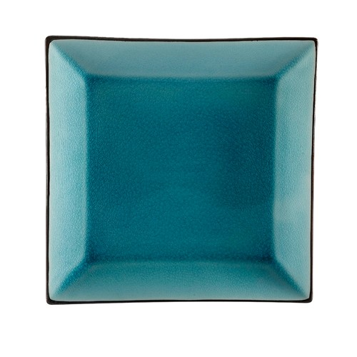 "CAC China 666-8-BLU Japanese Style 9"" Square Plate, Lake Water Blue"