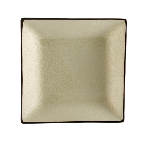"CAC China 666-8-W Japanese Style 9"" Square Plate, Creamy White"
