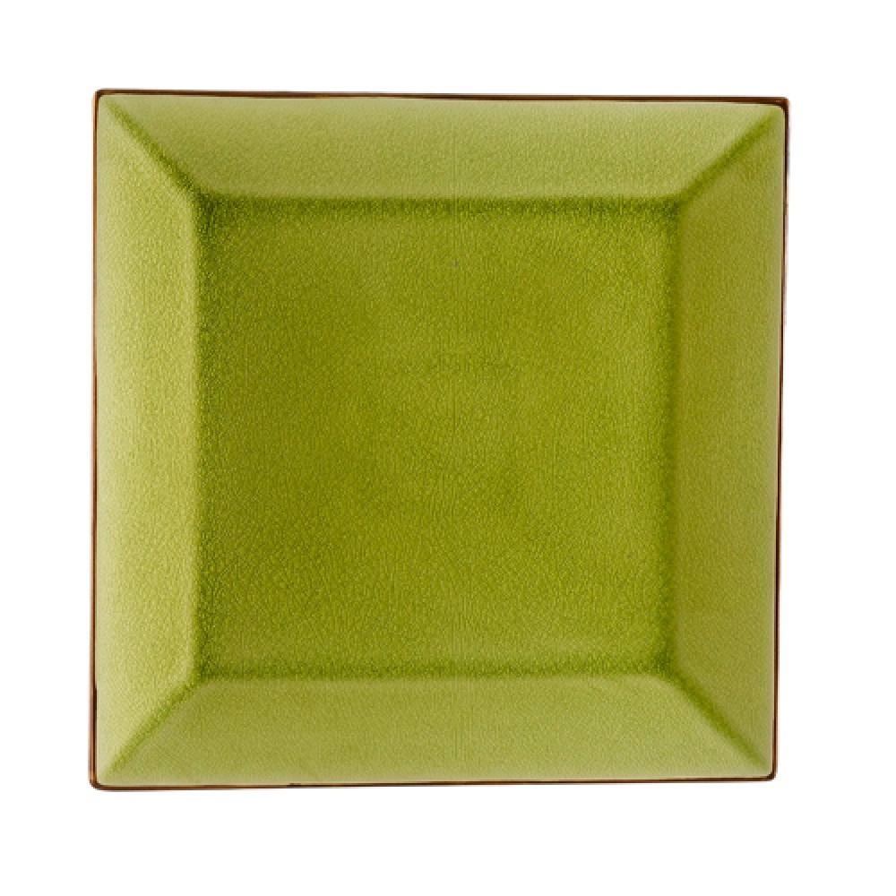 "CAC China 666-8-G Japanese Style 9"" Square Plate, Golden Green"