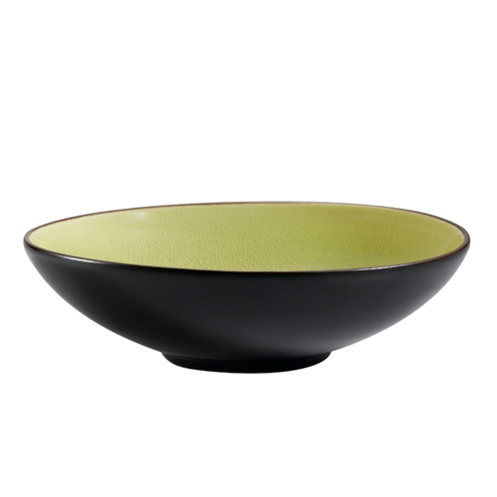 "CAC China 666-28-G Japanese Style 8"" Salad Bowl, Golden Green"