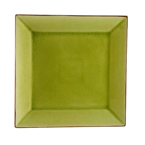 """CAC China 666-5-G Japanese Style 5"""" Square Plate, Golden Green"""