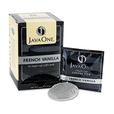 Java One Coffee Pods, French Vanilla, Single Cup, 14/Box