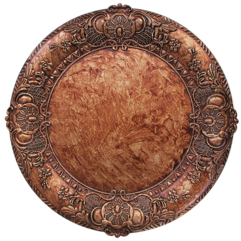 "Jay Companies 1320428 Embossed Round Copper 13"" Charger Plate"