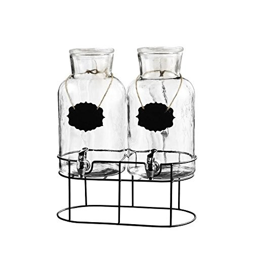Jay Import 210439-SGB Style Setter Sierra Chalkboard Set of Two Beverage Dispensers with Stand