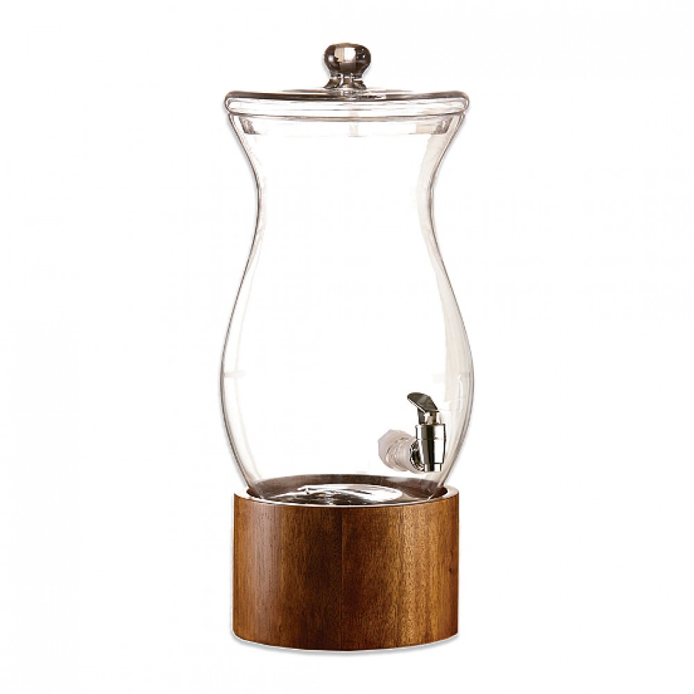 Jay Import 210767 -gb American Atelier Madera Glass Beverage Dispenser with Wooden Stand