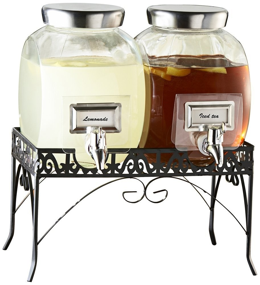 Jay Import 210981-GB Style Setter Williamsburg Glass Beverage Dispenser Set with Stand