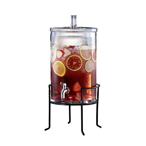Jay Import 210947-GB Style Setter Glass Beverage Dispenser with Stand