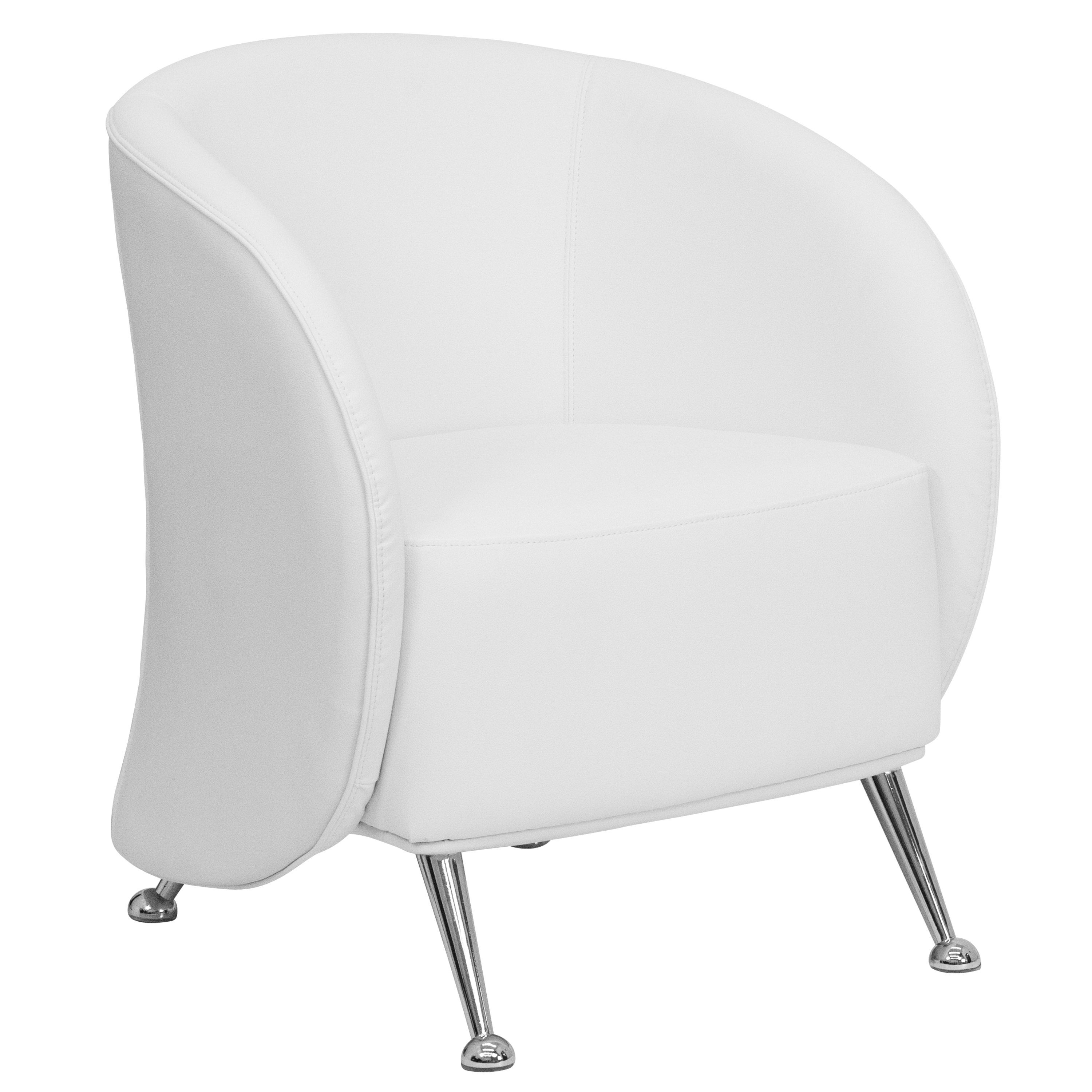 Jet Series White Leather Reception Chair