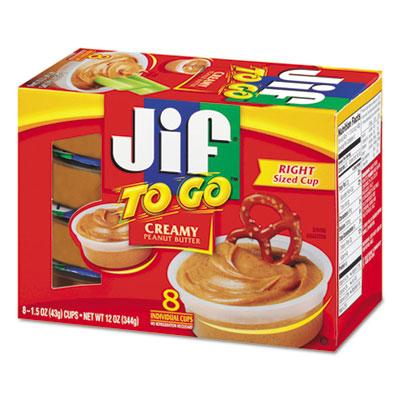 Jif To Go Creamy Peanut Butter Spreads, 1.5 oz Cup, 8/Box
