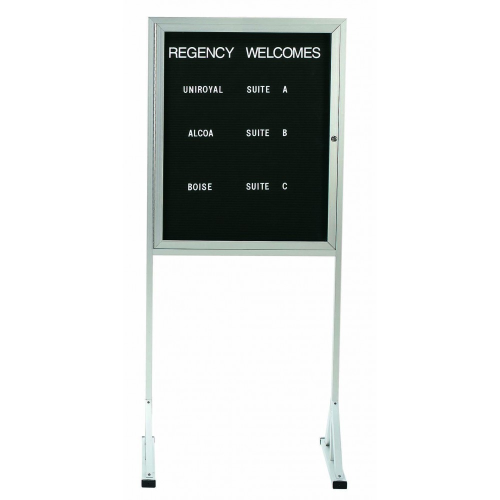 Jumbo Double Freestanding Pedestal Letterboard W/locking Door - 36