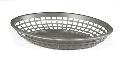 "TableCraft 1084GM Gunmetal Jumbo Oval Plastic Basket, 11-3/4"" x 8-7/8"" x 1-7/8"""