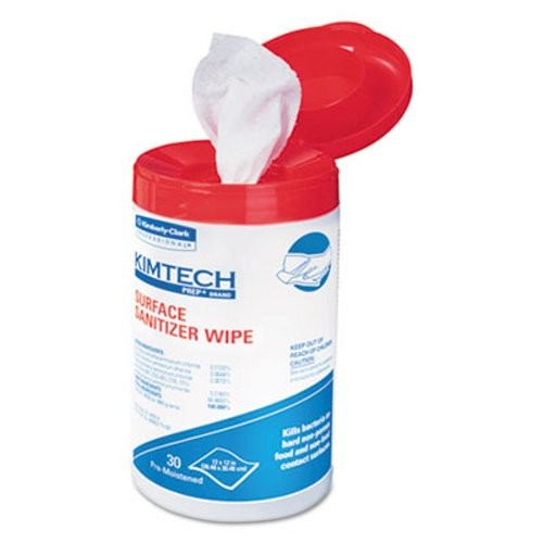 KIMTECH PREP Surface Sanitizer Wipes, 12 x 12, White, 30/Canister