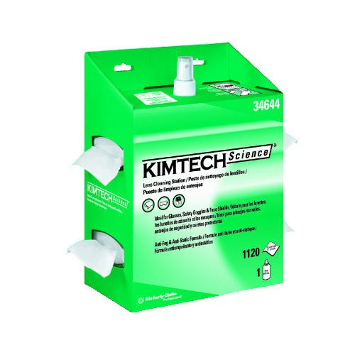 KIMTECH SCIENCE KIMWIPES Lens Cleaning Station, 16 Oz Bottle Solution & 120 Lens Cleaning Wipes, White, 17.750 X 10.500 X 12.500