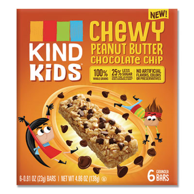 KIND Kids Bars, Chewy Peanut Butter Chocolate Chip, 0.81 oz, 6/Pack