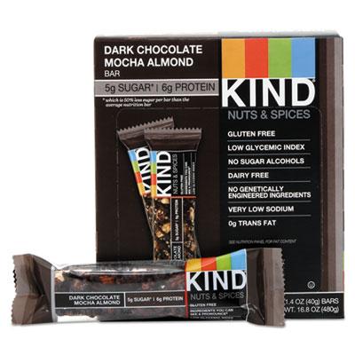 KIND Nuts and Spices Bar, Dark Chocolate Mocha Almond, 1.4 oz Bar, 12/Box