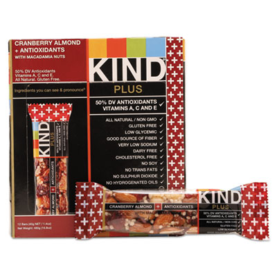 KIND Plus Nutrition Boost Bar, Cranberry Almond and Antioxidants, 1.4 oz, 12/Box