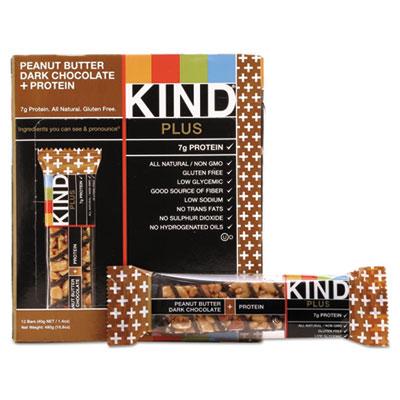 KIND Plus Nutrition Boost Bar, Peanut Butter Dark Chocolate/Protein, 1.4 oz, 12/Box