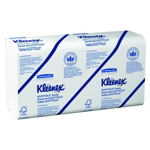 KLEENEX SCOTTFOLD Paper Towels, 9 2/5 x 12 2/5, White, 120/Pack