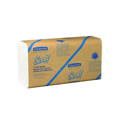 Kimberly Clark Professional SCOTT 100% Recycled Fiber C-Fold Paper Towel 13.15 X 10.1, 1-Ply, White