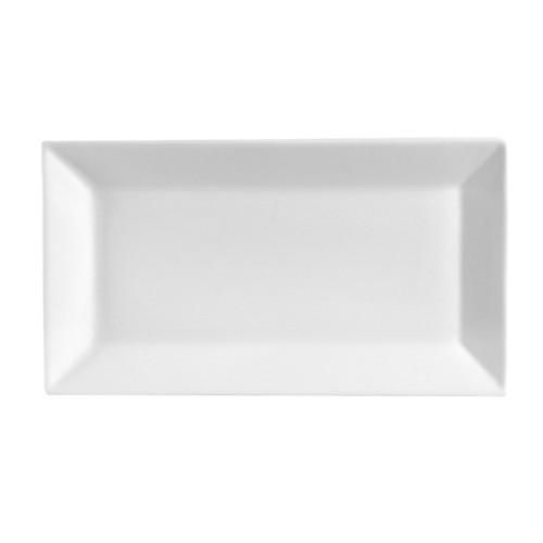"CAC China KSE-41 Kingsquare White Porcelain Rectangular Deep Platter, 12"" x 4"""