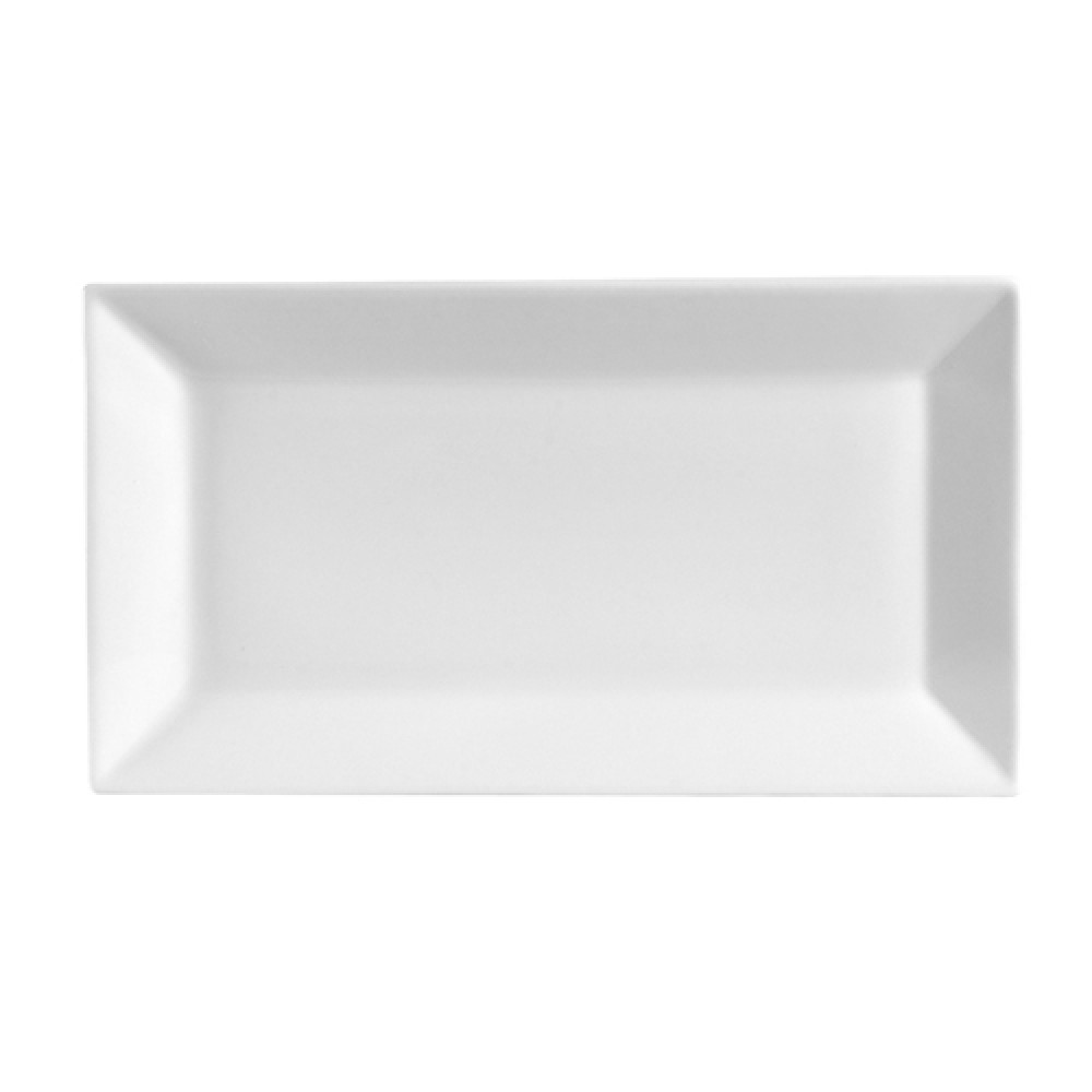 "CAC China KSE-61 Kingsquare White Porcelain Rectangular Platter, 16-1/4"" x 9"""