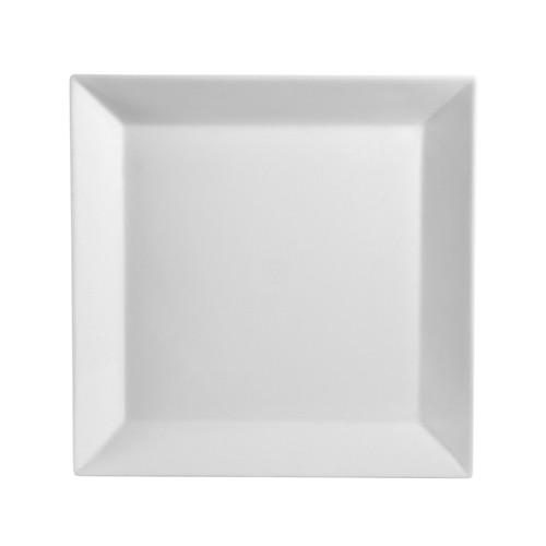 """CAC China KSE-26 Kingsquare White Porcelain Square Deep Plate 16"""""""