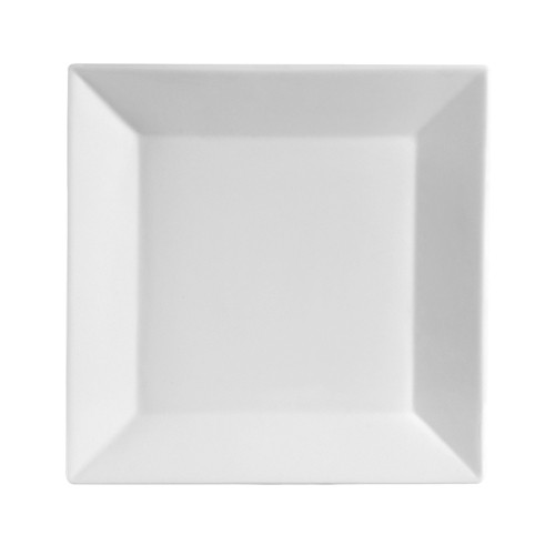 CAC China KSE-4 Kingsquare White Porcelain Square Plate 4""